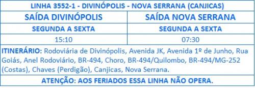 3552-1 DIVINOPOLIS - NOVA SERRANA
