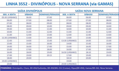 HORARIO DE ONIBUS 3552 DIVINOPOLIS - NOVA SERRANA