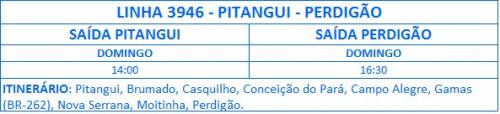 HORARIO DE ONIBUS 3946 PITANGUI PERDIGAO